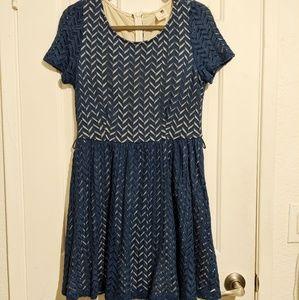 Modcloth Pink Owl Navy Dress